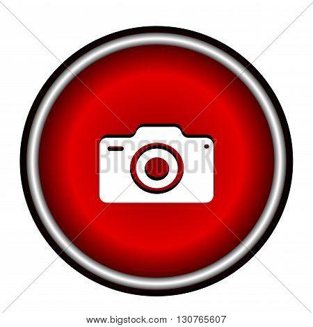 Photo camera flat web icon on white background.