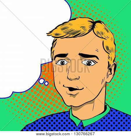 Man in comics retro pop art style. Vector illustration.
