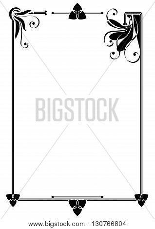 vector frame with abstract flowers in black and white colors