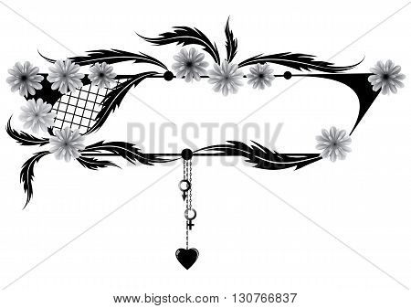 vector banner with frame of flowers heart Venus and Mars