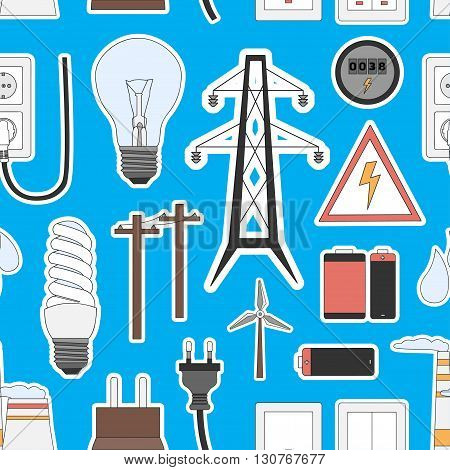Energy, electricity, power icons in colors pattern. Vector illustration, EPS 10