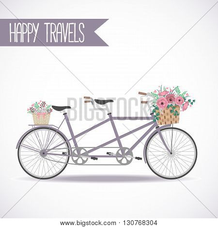 Cute bicycle with basket full of flowers in modern flat style. Travel bicycle. Greeting card with tandem bicycle. Vector illustration