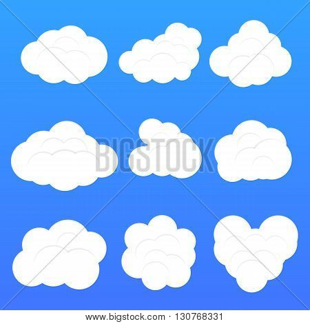 Set of nine different flat clouds. Vector, eps10.