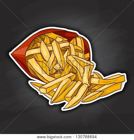 Colorful French Fries in Packet. Snacks. Fast food. Vector illustration. Color picture sticker