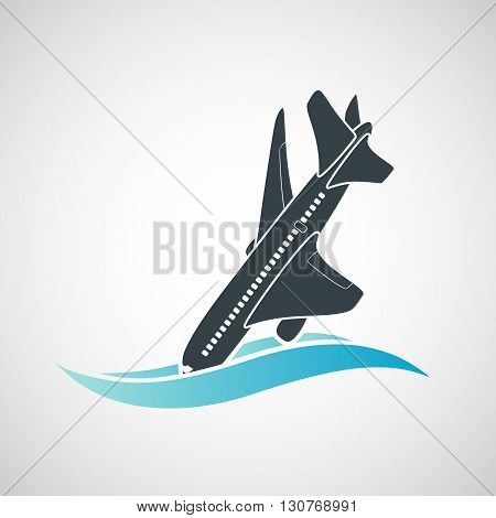 Plane Crash icon. A terrorist act. Stock vector illustration