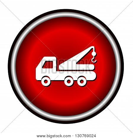 Tow truck line icon on white background