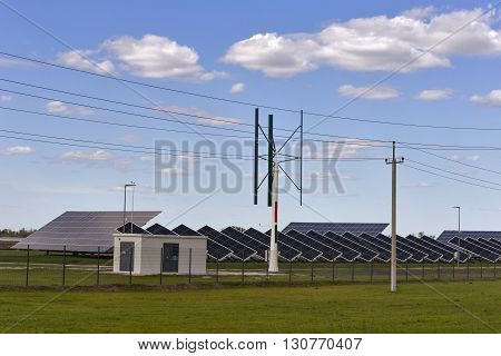 energy from solar and wind electricity station.