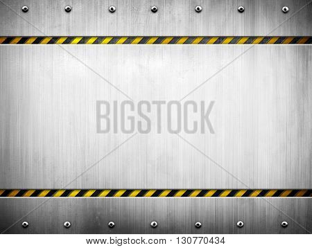 metal template with warning striped background