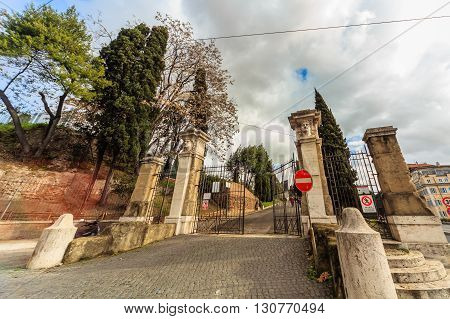 ROME - January 10: Coliseum exterior on January 10 2016 in Rome Italy.