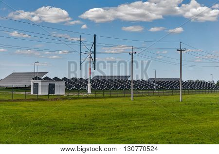 energy from the sun and wind station.
