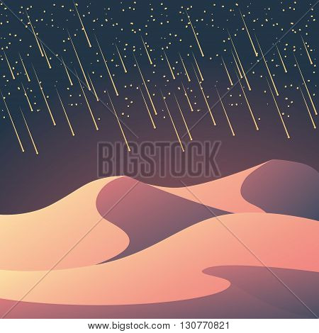 Desert landscape with meteor shower on the night sky. Romantic natural wallpaper for sci-fi or fantasy background. Eps10 vector illustration.