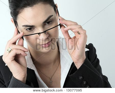 Portrait of a young businesswoman wearing trendy glasses.