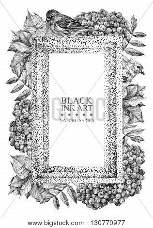 Rectangular frame with different flowers birds and plants drawn by hand with black ink. Graphic drawing pointillism technique. Place for text. Can be used as postcard illustration