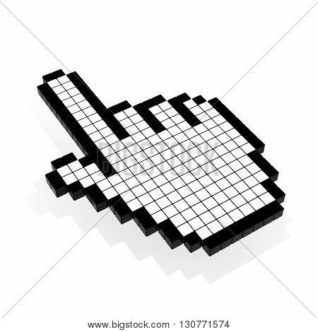 Cursor symbol hand pixelated on white 3D illustration