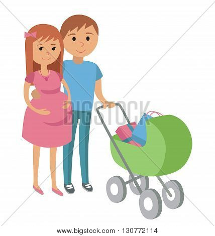 Pregnant woman and her husband on shopping. Vector illustration of pregnant couple with baby stroller and gifts purchase isolated on white background.