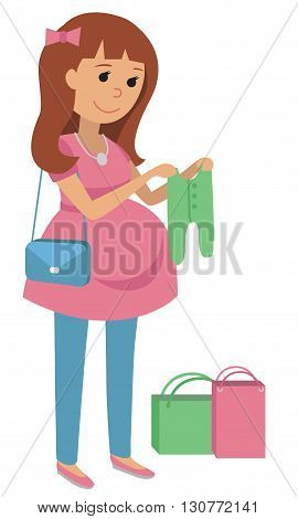 Pregnant woman holding sliders in her hands. Flat vector illustration.