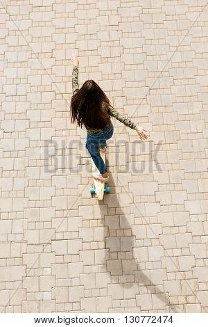 Happy Girl With Longboard Skateboard