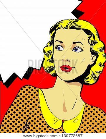 Woman with speech bubble. Vector illustration in comics retro pop art style.