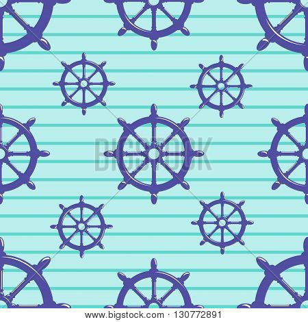 Seamless pattern with steering wheel on striped blue background. Vector Illustration