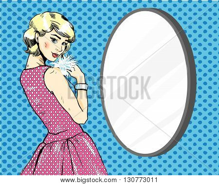 Beautiful Woman in front of mirror. Vector illustration in comics retro pop art style.