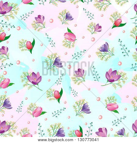 Seamless pattern with spring flowers. Tulips, snowdrops. Can be used for wedding design.