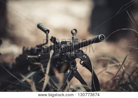 military weapon machine gun with ammunition closeup