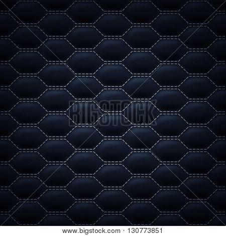 Quilted carbon stitched background pattern. Black color. Upholstery vector illustration.
