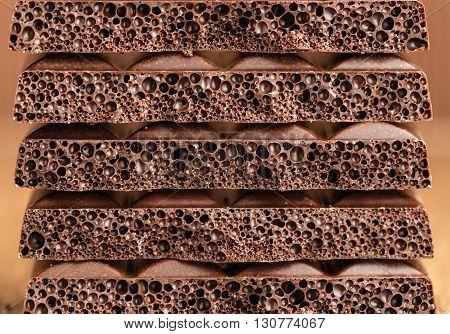 background texture of milk porous chocolate closeup