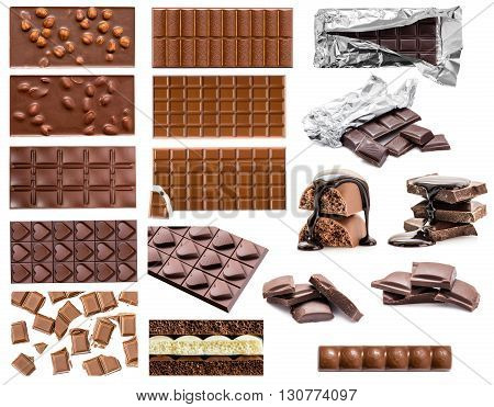 assortment of chocolate on a white background isolated