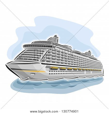 Vector illustration of logo for cruise liner ship, consisting of  floating on the ocean sea waves luxury passenger full-service resort vessel close-up on blue background