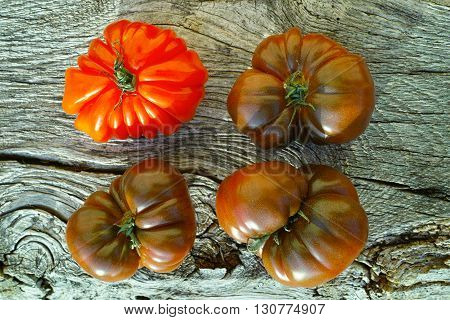 Big Black Heirloom and Oxheart organic tomatoes on wooden textured background