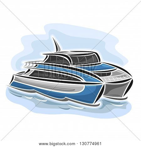 Vector illustration of logo for high-speed ferry catamaran, consisting of velocity passenger express ship, floating on the ocean sea waves close-up on blue background