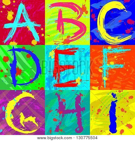 The abstract text effect in bright colors using brushes, spray, ink letters, grunge. Abstract colorful background - EPS10