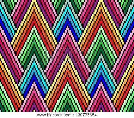 Seamless geometric pattern in the style of pixel art. African motif, boho. - EPS8