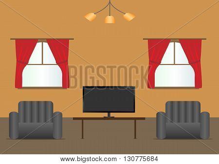 Living room interior modern design. Vector illustration