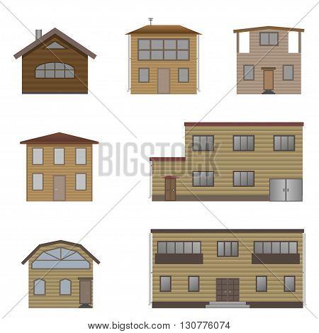 Wooden house set. Real estate, Vector illustration