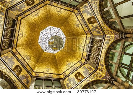 Golden Mosaic Cupola Of Wiesbaden City Museum