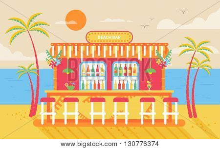 Stock vector illustration of happy sunny summer day beach, bar counter, barstools for recreation on island, bright sun, palm trees in flat style element for info graphic, website, games, motion design