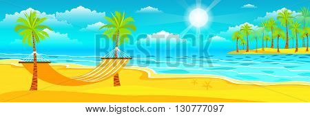 Stock vector illustration of happy sunny summer day at the beach with a hammock on the island with a bright sun, palm trees in flat style element for info graphic, website, games, motion design