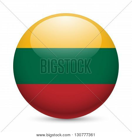 Flag of Lithuania as round glossy icon. Button with Lithuanian flag
