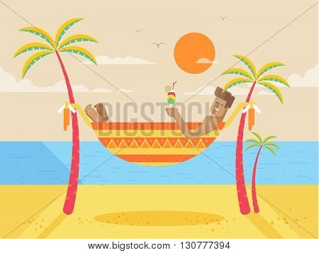 Stock vector illustration of happy sunny summer day at beach with tanned man in hammock holding cocktail, bright sun, palm trees in flat style element for info graphic, website, games, motion design