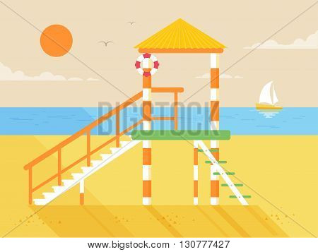 Stock vector illustration of happy sunny summer day at the beach with lifeguard tower on island with bright sun in flat style element for info graphic, website, games, motion design