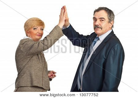 Mature Business People Give High Five