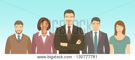 Business people group flat vector illustration. Successful team of young ambitious men and women in business suits. Office staff employment concept. Leader with his team. New business start up