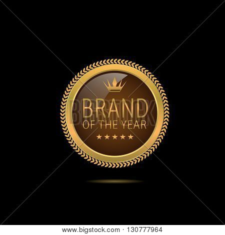 Brand of the year. Golden Brand of the year label with stars and crown