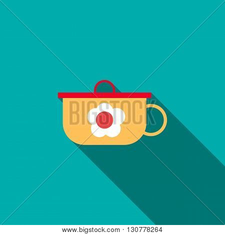 Children pan icon in flat style with long shadow. Utensils for eating symbol