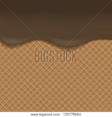 Wafer background with dark chocolate. Vector illustration