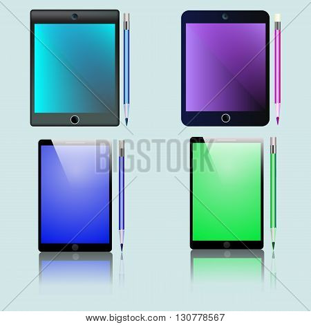 Phones and tablets for business with pencils. Vector illustration in different colors.