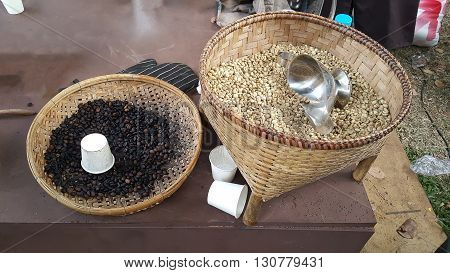The coffee beans on a threshing basket.