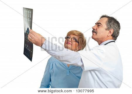 Doctor Man Review Mri With Patient Woman